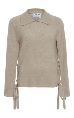 This soft cashmere sweater by **Frame Denim** features feminine ties at either side and spread collar for a polished finish. Frame Denim, Denim Fashion, Cashmere Sweaters, Autumn Winter Fashion, Men Sweater, Feminine, My Style, Tie, Clothes