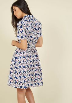 Play your cards right by sporting this cotton shirt dress - a ModCloth exclusive - and you might just be the most sharply styled gal in town! 'Be-decked' with a print of playing cards and touting a gathered skirt, removable sash, and pockets, this navy and white number is one seriously ace ensemble!