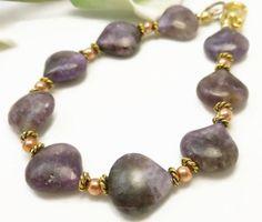 Charoite Purple Gemstone Copper Gold Bracelet 8 inch | dianesdangles - Jewelry on ArtFire #bmecountdown