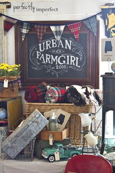 Our Chapel Market Displays. Gorgeous market display with awesome chalkboard art, rolled blankets, antique toy truck. Market Displays, Craft Show Displays, Craft Show Ideas, Store Displays, Display Ideas, Window Displays, Retail Displays, Jewelry Displays, Menue Design