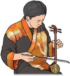 4弦のクーチョーを弾く男性。胡弓。