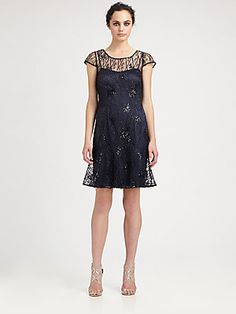 Kay Unger Sequined Mesh Dress $450.