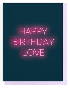 Happy Birthday Love Neon Greeting Card