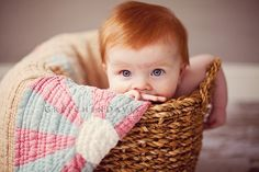 Look at all that amazing red hair and big blue eyes! Beautiful Baby!