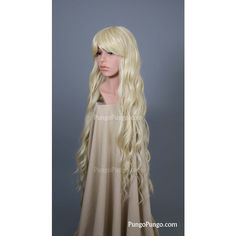 Light Blonde Wig Long Curly Heat Safe Wig Bangs Emo Scene Anime Wig... ($50) ❤ liked on Polyvore featuring beauty products, haircare, hair styling tools, bath & beauty, grey, hair care, wigs and curly hair care