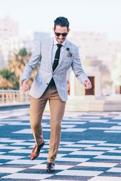 Fancy, Dapper, Men, Suited, Suits, Three Piece Suits, Grey Jackets, Ties, Pocket Squares, Leather Shoes, Brown, Shoes, Sunglasses, Menswear, Mens Style, Fashion, Mens Fashion #menssuitsstyle