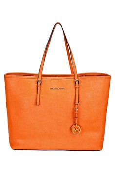 Michael Kors Tangerine Jet Set Medium Travel Tote