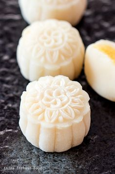 Snow skin mooncake, Snowy mooncake, Ice skin mooncake or Crystal mooncake is a Chinese food eaten during the Mid-Autumn Festival. Snow skin mooncakes are a non-baked mooncake which originated in Hong Kong.