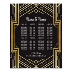 Table Wedding Gatsby Art Deco Poster Seating Gatsby Art Deco Seating Plan for guests - perfect for your wedding day or event. Matches our collection. Gatsby Wedding, Art Deco Wedding, Wedding Table, Wedding Ideas, Wedding Card, Gold Wedding, Gatsby Theme, Wedding Signs, Wedding Planning