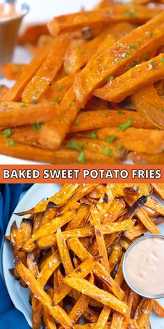Ultra Crispy Baked Sweet Potato Fries are going to soon become your new favorite side dish! Learn how easy it is to cut sweet potatoes into fries and then bake them in the oven instead of deep-frying. You can then serve this healthy, vegan, vegetarian, and gluten-free roasted vegetable with a side of homemade sriracha mayo for a show-stopping recipe the whole family will love! #sweetpotato #fries #sidedish #glutenfree #vegan