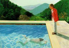 Titel: Portrait of an artist (Pool with two figures) Kunstenaar: David Hockney Datum: 1971 Materiaal: Olieverf op doek Museum: Onbekend Stroming: Pop-art