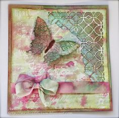 Card using Tim Holtz Butterfly duo and Mixed Media dies