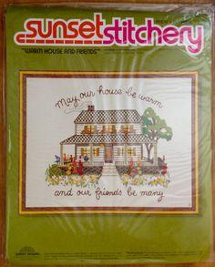 Vintage Embroidery Kit WARM HOUSE FRIENDS Sunset Stitchery Housewarming Sealed #fabric4you