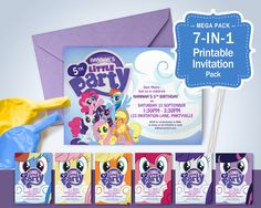 My Little Pony Printable Invitations - Pony Theme Party, My Little Pony Invites, Edit & Print as many copies as you like by MontyandMeShop on Etsy