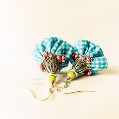 Pendant fiber colorful earrings, plaid fabric - cotton - glass beads, sterling silver, blue, hot pink, green, white, fushia, turquoise.. €24.00, via Etsy.