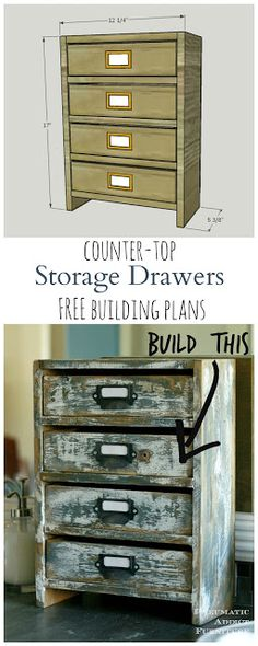 Build your own set of small, rustic drawers to store bathroom supplies or almost anything. TWO sets of free building plans! One WITHOUT a table saw!!