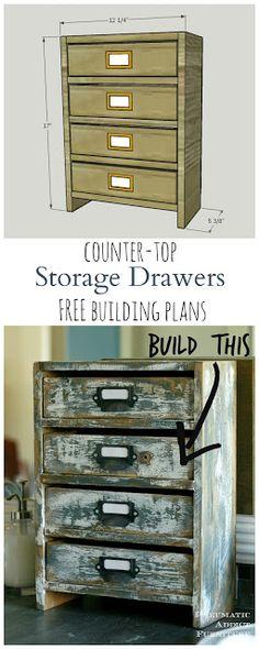 Construye tu propio conjunto de pequeños cajones, rústico para almacenar productos de baño o casi cualquier cosa.  Dos juegos de planos de construcción gratis!  Uno sin una sierra de mesa !!