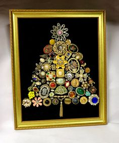 Large Framed Jeweled Christmas Tree Decoration / by SandysTrinkets