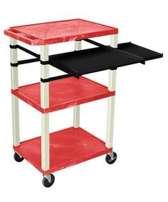 "H. Wilson 42"""""""" Presentation Cart With Keyboard Shelf And Side Pullout Shelf, Red With Putty Legs"