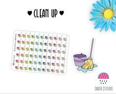 Clean up Planner Stickers, Cleaning Stickers, Erin Condren, Plum Paper Planner, Filofax,Kikkik, Limelife. de SandiaStickers en Etsy