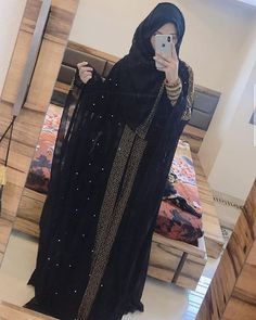 icu ~ Abayas fashion image by Yuls on gamis syar'i inspiration Niqab Fashion, Modest Fashion Hijab, Modern Hijab Fashion, Muslim Women Fashion, Kimono Fashion, Fashion Outfits, Modern Abaya, Mode Niqab, Abaya Mode