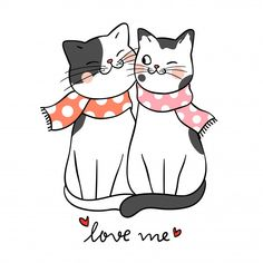 Vector illustration character design couple love of cat with word love me. Gato Doodle, Doodle Cartoon, Cartoon Style, Cat Template, Art Mignon, Graffiti Cartoons, Cat Drawing, Cute Illustration, Crazy Cats