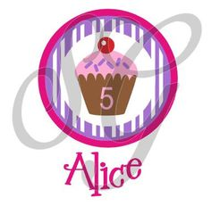 Personalized Birthday Cupcake iron on decal for shirt - pinned by pin4etsy.com