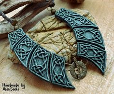 Green necklace Celtic necklace Polymer clay by HandmadeByAleksanta