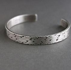 Textured Sterling Silver Cuff, Men's Metal Bracelet