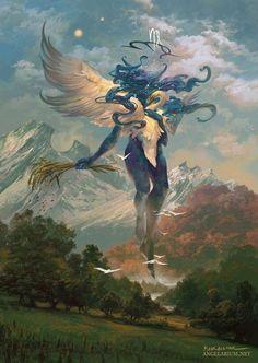 """angels and demons"": the superb digital concept art of peter mohrbacher Dark Fantasy Art, Fantasy Artwork, Fantasy World, Arte Obscura, Fantasy Monster, Angels And Demons, Fantasy Inspiration, Painting Inspiration, Creature Design"