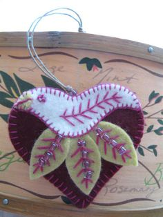heart and bird ornament