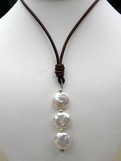 Natuurlijke witte parels zilver lederen ketting door TANGRA2009