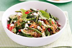 This simple salad is a tasty combination of sweet onions, crunchy capsicum and creamy feta cheese.