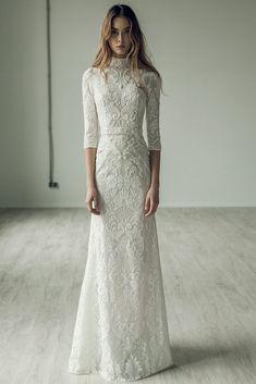 wedding dress open back Ersa Atelier 2017 Fall Bridal Collection Modest Wedding Dresses, Trendy Dresses, Fall Dresses, Bridal Dresses, Nice Dresses, Wedding Gowns, Lace Wedding, Wedding Bouquets, Wedding Ceremony