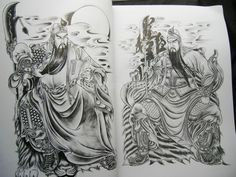 Wholesale China Tattoo Flash book Traditional figures Guan Gong Yu General Soldier Samurai sketch book Outline Free shipping