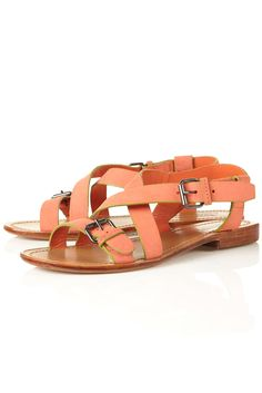 yes please! coral & green leather sandals