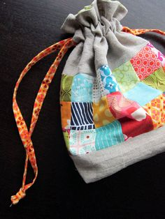 Linen + Squares drawstring pouch by StitchedInColor, via Flickr
