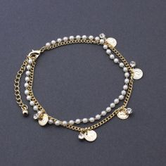 Anklet Pearl Ankle Bracelet Gold Plated Coin CZ Two Layers Anklets