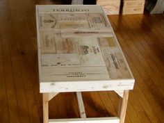 Handmade coffee table. Recycled wine crates from Palm Harbor Creations.