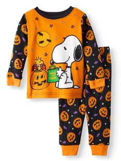Halloween Glow-in-the-Dark Cotton Tight Fit Pajamas, 2-piece Set (Toddler Girls) - Walmart.com Halloween Pjs, Baby Halloween Outfits, Mickey Mouse Halloween, Halloween Clothes, Little Girl Outfits, Baby Boy Outfits, Baby Cribs For Twins, Baby Mouse, Minnie Mouse