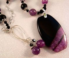 Agate Beaded Necklace Purple Geode Druzy Gemstone Earrings