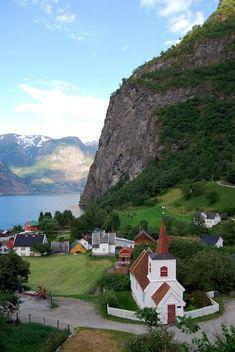 Undredal stave church in Aurland, Sogn og Fjordane, Norway on the Naeroyfjord