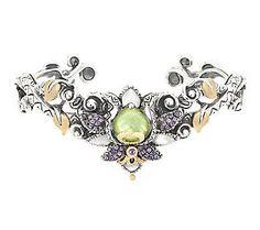 Barbara Bixby Sterling/18K Large Multi-Gemstone Lotus Cuff