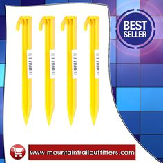 """Abs 6"""" Tent Pegs 9307  SKU: 159098  Guaranteed unbreakable. Rugged design. Great holding power. Large no-slip hook. Wt: 0.32 oz. (6""""), 0.48 oz. (9"""").   Product direct link:  http://www.mountaintrailoutfitters.com/products/Abs-6%22-Tent-Pegs-9307.html  Visit our website:  http://www.mountaintrailoutfitters.com/"""