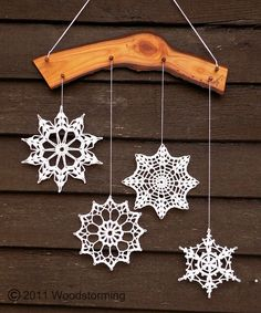 Crochet snowflakes decoration - Christmas and winter ornament for cozy home. €35,00, via Etsy.