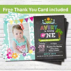 Luau birthday beach party invitation. Baby girl 1st first birthday invitation. Turquoise Hawaii hula pool party. Photo printable PA011