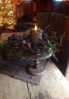 🌟Tante S!fr@ loves this 📌🌟Find Christmas table centerpieces at Harbor Farm Evergreens. The rustic styles of this collection bring out the sentimental tones of the holiday spirit. Primitive Christmas Decorating, Prim Christmas, Christmas Past, Country Christmas, Simple Christmas, All Things Christmas, Winter Christmas, Vintage Christmas, Christmas Crafts