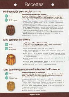 Fiche recette Moule à mini cannelés 2/2 - Tupperware : Mini cannelés au chocolat, Mini cannelés au chèvre, Mini cannelés jambon fumé et herbes de provence