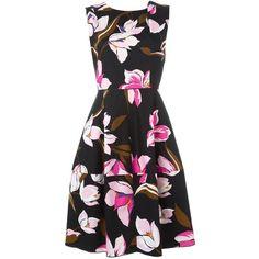 Salvatore Ferragamo Floral Print Dress ($1,068) ❤ liked on Polyvore featuring dresses, multicolour, black circle skirt, floral dress, black flared skirt, flared skirt и black skater skirt