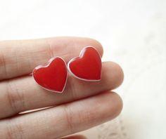 Red Heart earrings  Heart jewelry  BeautySpot, $20,00